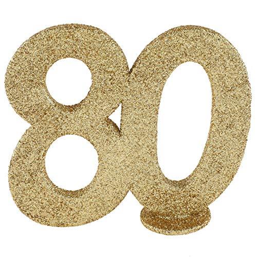 cama24com XXL Tischdeko Zahl 80 Gold Glitzer 1 Stück Geburtstag Jubiläum Party-Deko mit Palandi® Sticker