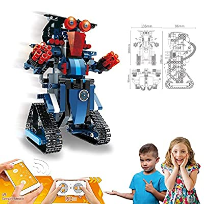 Stem Toy Robot Building Blocks Set for Kids - Remote and App Controller Technology Rechargeable - Educational Engineering Science Assembling Kits - Smart Playing & Learning Set Gift for Kids Age 8+