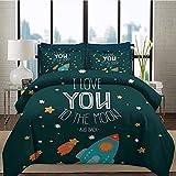 Ropa de cama Juego de funda nórdica I Love You Juego de cama con patrón 3D Cohete en el camino de la aventura espacial Cosmic Valentines Couples Universe Theme Juego de cama decorativo de 3 piezas
