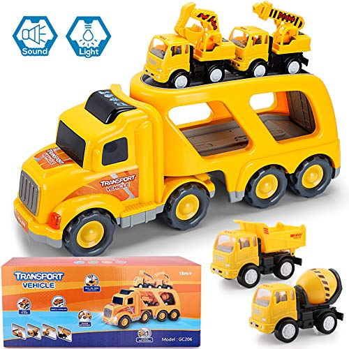 Construction Truck Toys with Sound and Light, Cars Toy Set for 3 4 5 6 7 Years Old Child Kids Boys and Girls, Play Vehicles, Engineering Playset, Gift Set of Small Crane Mixer Dump Excavator Toy