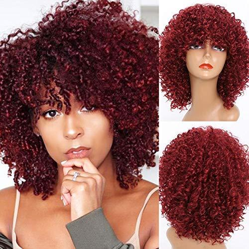 Peluca rizada rubia Pelucas afro rizadas rubias Peluca sintética para Fion n (Color: Rubio) -642hong, 22inches