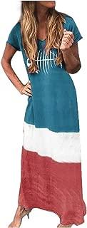 2019 Crew Neck T Shirt Long Mini Dress,Londony🌞 Women's Short Sleeve Loose Plain Maxi Dresses Casual Long Dresses Blue