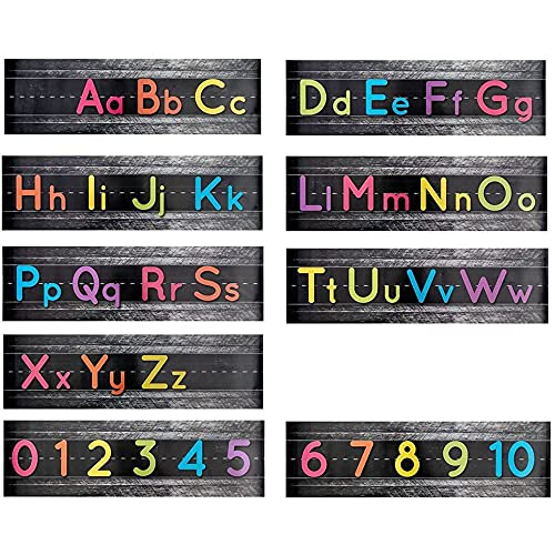 Alphabet Letter Bulletin Board Strips, Classroom Decorations (21 x 6 in, 9 Pack)