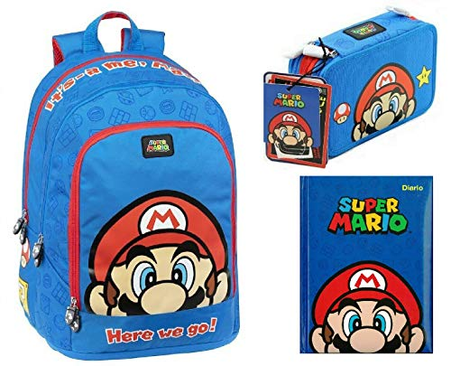 Schoolpack Scuola SuperMario Zaino blu Organizzato + Astuccio 3 zip Super Mario + Diario 2020/21