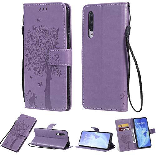 Zchen Xiaomi Mi 9 Lite Hülle, Kunstleder Portemonnaie Handy-Schutzhülle Book Flip Design Klapphülle Etui Tasche für Xiaomi Mi 9 Lite (Katze-Lila)
