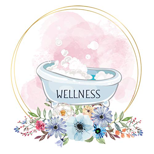 Wandaro Türaufkleber Wellness mit Badewanne & Blumen I Design 5 I Wandsticker WC selbstklebend Klo Wandaufkleber Toilette Wandtattoo DL446-5