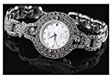 CHXISHOP Women's Watch 925 Sterling Silver Watch Vintage- Link Pulsera Strap Vestido de Mujer Vestido de Pulsera White- 18.5cm