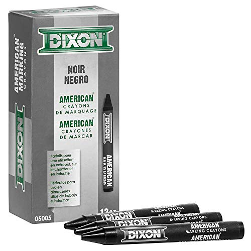 Dixon Industrial Round American Marking Crayons, Long-Lasting, Black, Pack of 12 (05005)
