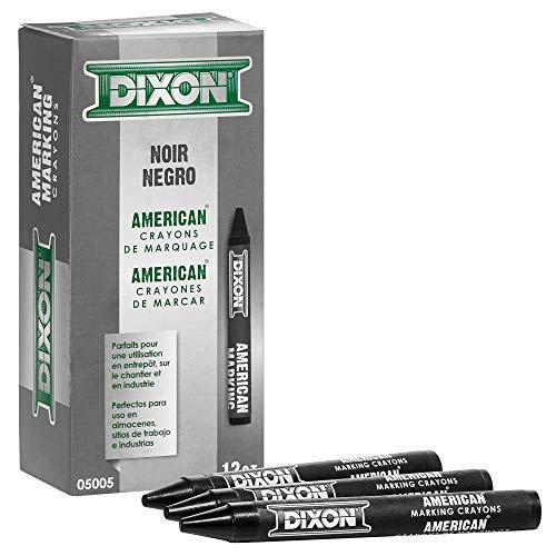 Dixon Industrial Round American Marking Crayons, Long-Lasting, Black, Pack of 12 (05005)