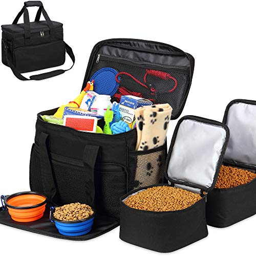 Lowest Price! Kundu Cat & Dog Travel Bag - Includes 2 Food Carriers, 2 Bowls & Place Mat - Airline A...