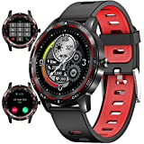 Smart Watch (Bluetooth Answer/Make Call) for Men Women, 1.28'' Waterproof SmartWatch with Heart Rate/Blood Pressure/SpO2 Monitor Sport Running Fitness Round Watch for Android/iOS Phones (red)
