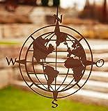 Rostalgie Edelrost Wandbild Weltkugel zum Hängen 41 cm Wandschmuck Garten Dekoration