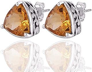 925 Sterling Silver Citrine Vintage Stud Earrings