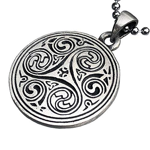 Celtic Pagan Wiccan Jewelry Merlin Morgana Wicca Witchcraft Magic Trinity Triskele Triquetra Triskelion Pewter Men's Women's Pendant Necklace Charm Protection Amulet for Men Women w Silver Ball Chain