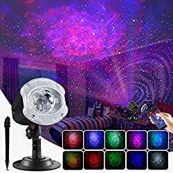 cheap ECOWHO outdoor Christmas laser projector, changing the projector light with 10 colors 2 in 1 Galaxy…