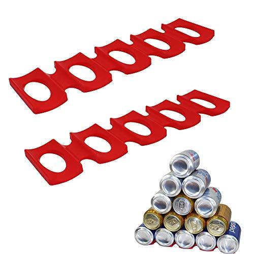 SRTYZ 2 Piezas Estante para Botellas Silicona Portabotellas Organizador de Botellas de Vino Plataforma de Nevera Organizador y Apilador para Botellas y Latas (Rojo)