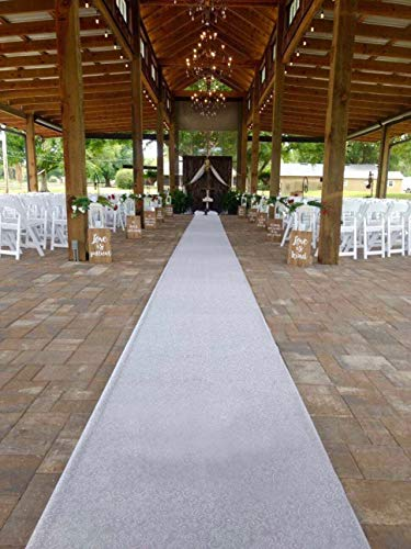 Wedding Aisle Runner White 24 in×30 ft Aisle Runner Rug with Wavy Print for Wedding Party Indoor and Outdoor