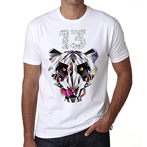 One in the City Geometric Tiger Number 13, Camiseta Hombre, Camiseta con Palabras, Camisetas de Regalo, Camiseta con imágenes