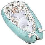 Juego de cuna para recién nacidos – nido para bebé, terciopelo (Terciopelo Menta y Algodón con Mariposa, 90 x 50 cm)