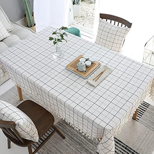 VIVILINEN Mantel Rectángulo Mantel de Lino de algodón, Borla de Costura Cuadrada Diseño Manteles rectangulares Manteles Lavables para Mesa de Comedor de Cocina (Blanco, 140x180cm)