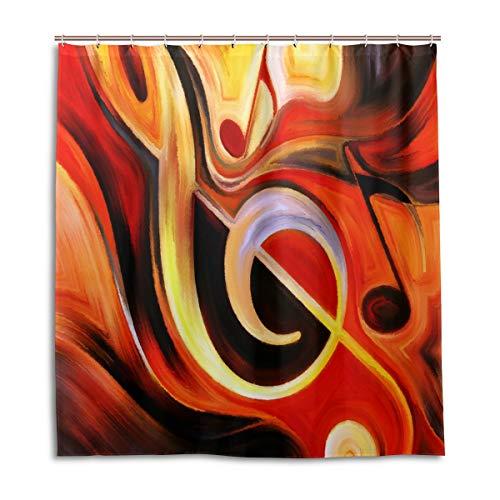 CPYang Duschvorhänge, abstrakte Kunst Musik Note, wasserdicht, schimmelresistent, Badevorhang, Badezimmer, Wohndeko, 168 x 182 cm, mit 12 Haken