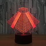 Neon Lights Bar Pyramid in Mexico Light Lamp 16 Cambios de Color Luces LED 3D Regalo de cumpleaños Navidad