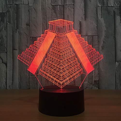 jiushixw 3D acryl nachtlampje met afstandsbediening kleur tafellamp Mexicaanse piramide vervangend bed hoofd bed geschenk tafellamp roze