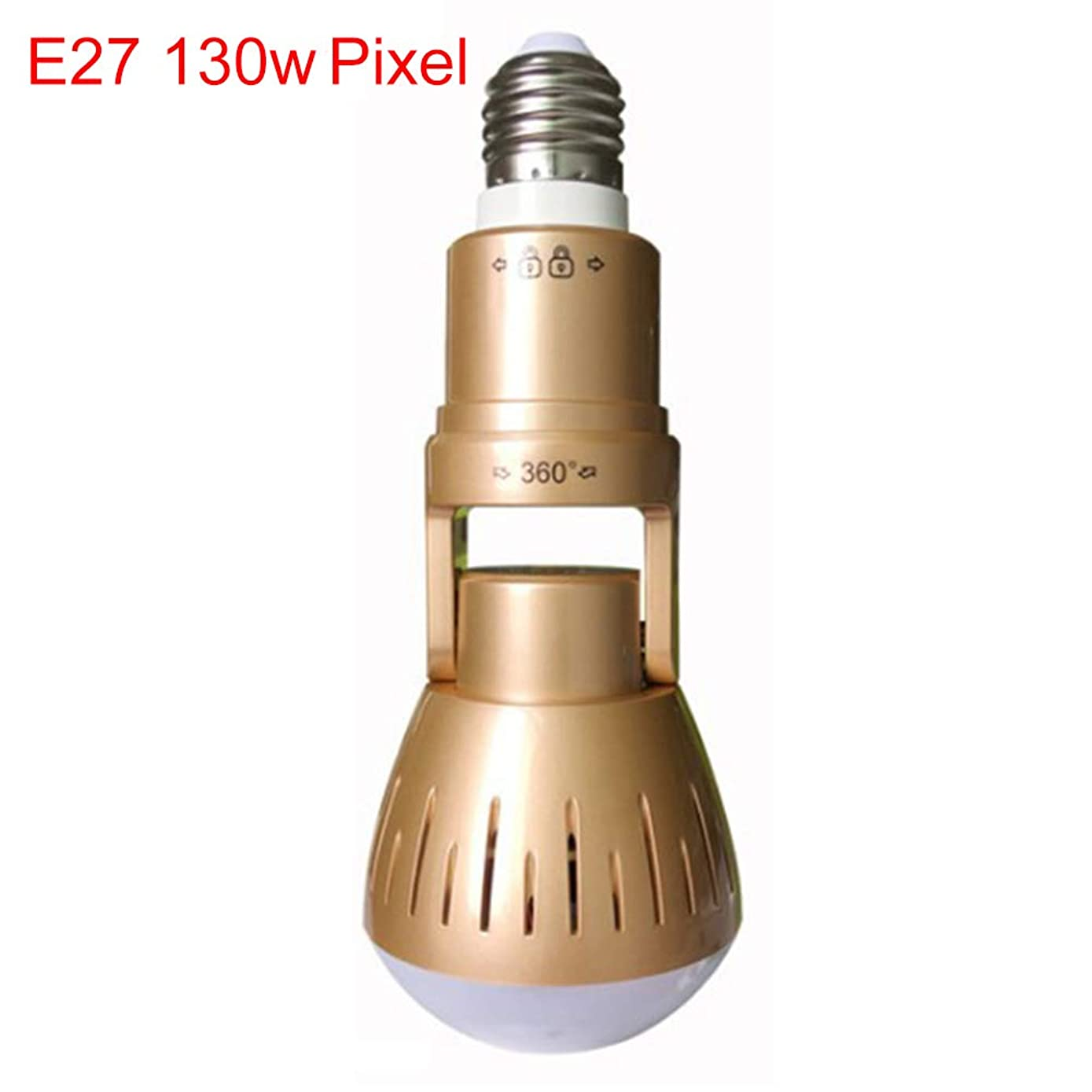Surveillance-360 Degree E27 Phone Remote Control Smart Light Bulb WiFi Security Surveillance-HD IP Camera - Golden 130w