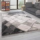 Paco Home Hochflor Teppich Wohnzimmer Shaggy Weich 3D Muster, Soft Garn in versch. Designs, Grösse:60x100 cm, Farbe:Grau 3