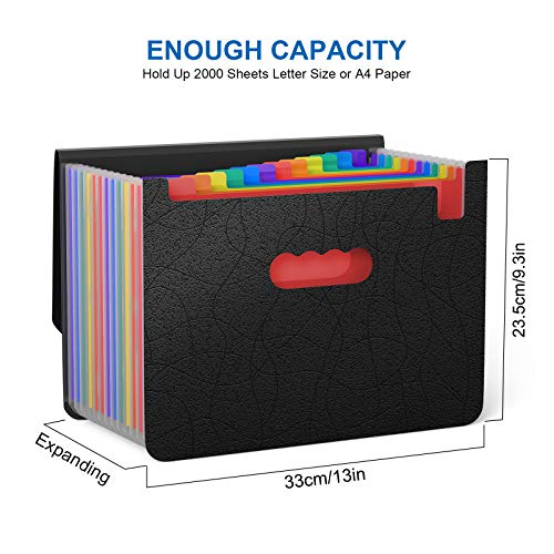 Expanding File Folder/Accordian File Organizer with Expandable Cover/Portable A4 Letter Size File Box,High Capacity Plastic Colored Paper Document Receipt Organizer Filing Folder Organizer Photo #7
