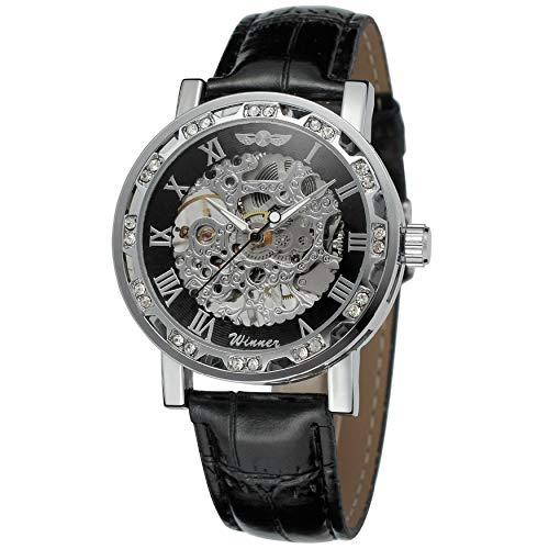 Leren riem klok Classic Luminous Pointer heren mechanische horloges