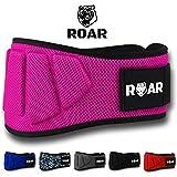 ROAR Cintura da Palestra Per Sollevamento Pesi - Power belt per Crossfit, Powerlifting, Weightlifting, Fitness eserzio, Bodybuilding, Gym. Cintura da allenamento (rosa, S)