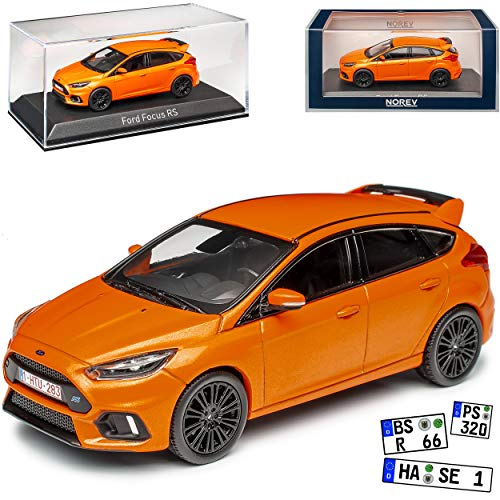 Ford Focus RS Orange 5 Türer 3. Generation 2010-2018 Version ab Facelift 2015 1/43 Norev Modell Auto mit individiuellem Wunschkennzeichen