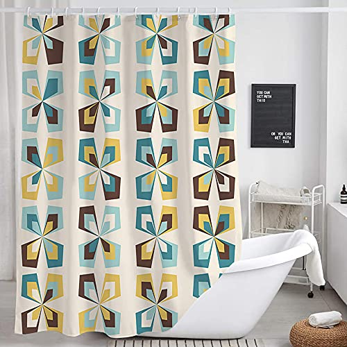 DYNH Mid Century Shower Curtain Retro Flower Shower Curtain Set, Geometric Floral Morden Pattern Fabric Bath Curtains for Beige Teal Bathroom Decor, Bath Accessories with 12PCS Hooks, 69X70 Inches