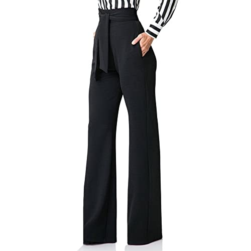 6178cc7a974d Voghtic Women Casual Bellbottoms High Waisted Stretchy Straight Leg Pants  Trousers with Belt