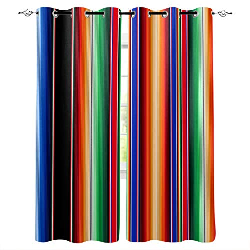 LOT BASIC 2 Panel 40x84inch Window Curtain Cinco de Mayo Window Drapes with Grommet Top, Thermal Insulated Curtains for Bedroom Living Room - Mexican Serape Colorful Stripes Vertical Lines Latino