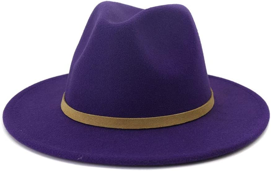 no-branded Fedora Hat Men Women Wide-Brimmed Cotton Panama Hat with Belt Buckle Jazz Style Felt Hat Formal Party Hat ZRZZUS (Color : Purple, Size : 59-60cm)