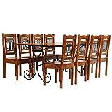 honglianghongshang Möbelgarnituren Küchen- & Esszimmergarnituren Essgruppe 9-TLG. Akazienholz Massiv mit Sheesham-Finish