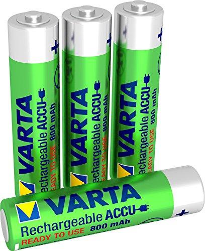 VARTA Rechargeable Accu Power vorgeladener AAA Micro Ni-Mh Akku (4er Pack, 800 mAh) , wiederaufladbar ohne Memory-Effekt - sofort einsatzbereit