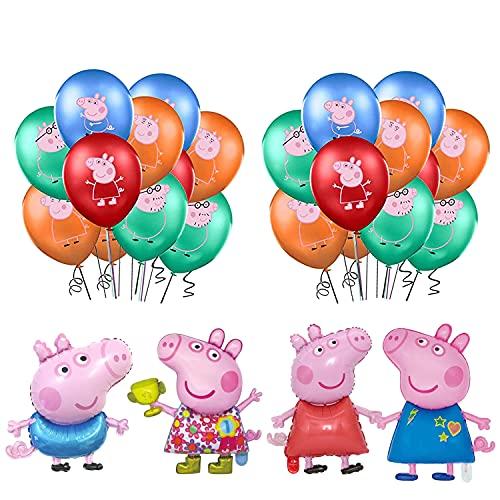 smileh Decoraciones de Fiesta Cumpleaños Peppa Pig Globos George Pig Cumpleaños Globos de Aluminio para Niños Decoraciones de Cumpleaños de George Peppa Pig