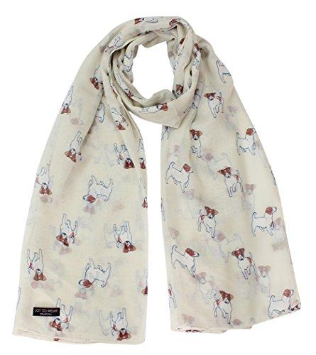 Jack Russell Terrier hond afdrukken dames mode sjaal (crème)