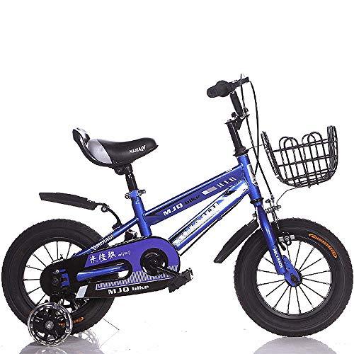 QQBB Kinderfahrräder, 12 Zoll, 14 Zoll, 16 Zoll, 18 Zoll Fahrräder, Mit Kotflügeln Und Blinkenden Zusatzrädern Für Jungen Und Mädchen Mit Höhenverstellbaren Geburtstagsgeschenken,C,16 in