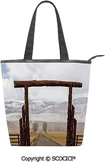 SCOCICI Canvas Tote Bag Big Log Gate Lane Montana Cattle Ranch in Winter Countryside Hills Cloudy Sky Women Casual Shoulder Bag Handbag