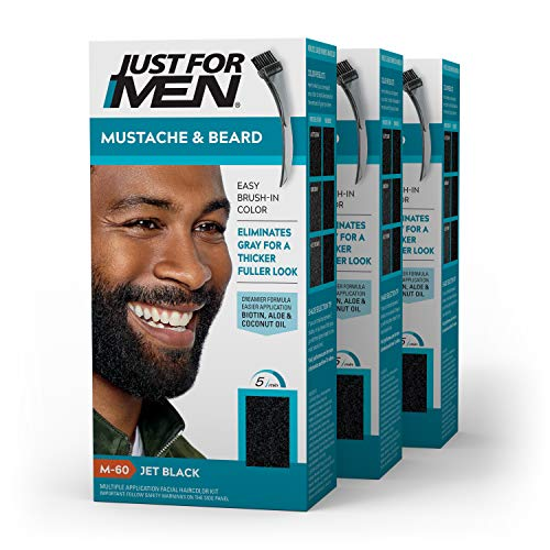 Just For Men Mustache & Beard, Beard Coloring for Gray Hair with Brush Included - Color: Jet Black, M-60 (Pack of 3)