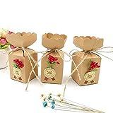 JZK 50 Cajas Favor Kraft con línea Yute + Flores + Pegatinas, Caja Dulces Caramelos Papel para Boda cumpleaños Navidad Baby Shower Fiesta graduación