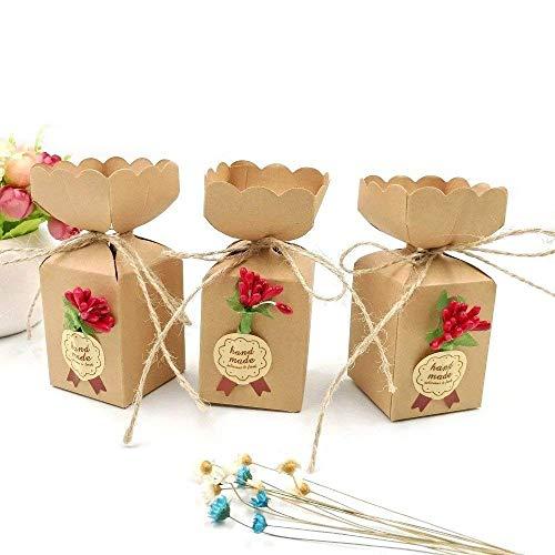 JZK 50 Cajas favor Kraft línea yute + flores + pegatinas