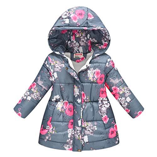 Mädchen Jungen Kapuzenjacke Floral Blumendruck Lang Steppjacke Winter Warm Hooded Windproof Unisex Baby Kinder Coat Windbreaker Dicke Kinderjacke