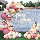 Kit de Guirnaldas con Globos Rosa, Guirnalda de Arco de Globos Rosa y Oro 98 Piezas Decoraciones de Fiesta Globos Blanco Amarillo para Cumpleaños Fondo de Aniversario de Boda Baby Shower Decoraciones