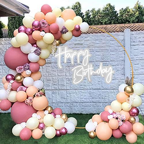 Kit Arco Palloncini Rosa, Palloncino Kit Ghirlanda Rosa e Oro, 98 Pezzi Decorazioni per Feste Palloncino Bianca Macaron Arancione per Ragazze Donne Compleanno Baby Shower Matrimonio Anniversario Festa