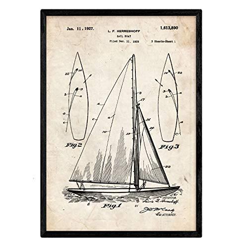 Nacnic Poster con Patente de Barco velero. Lámina con diseño de Patente Antigua en tamaño A3 y con Fondo Vintage